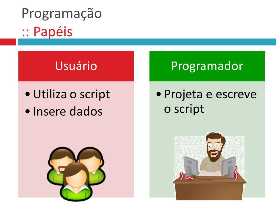 Programação :: Papéis Usuário Utiliza o script Insere dados Programador Projeta e escreve o script
