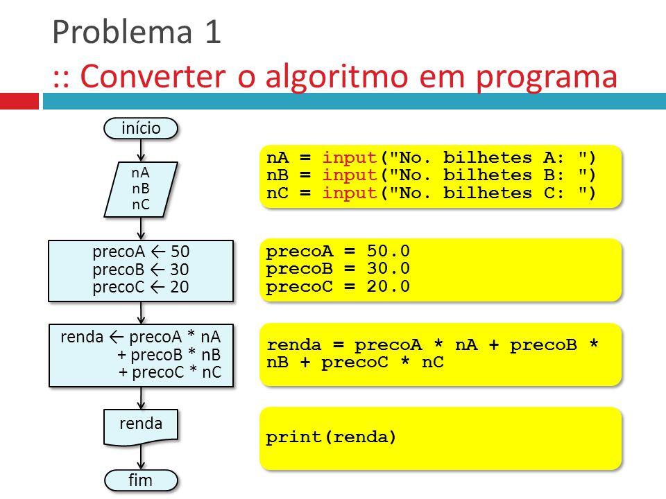 Problema 1 :: Converter o algoritmo em programa início nA nB nC nA nB nC fim renda precoA ← 50 precoB ← 30 precoC ← 20 precoA ← 50 precoB ← 30 precoC