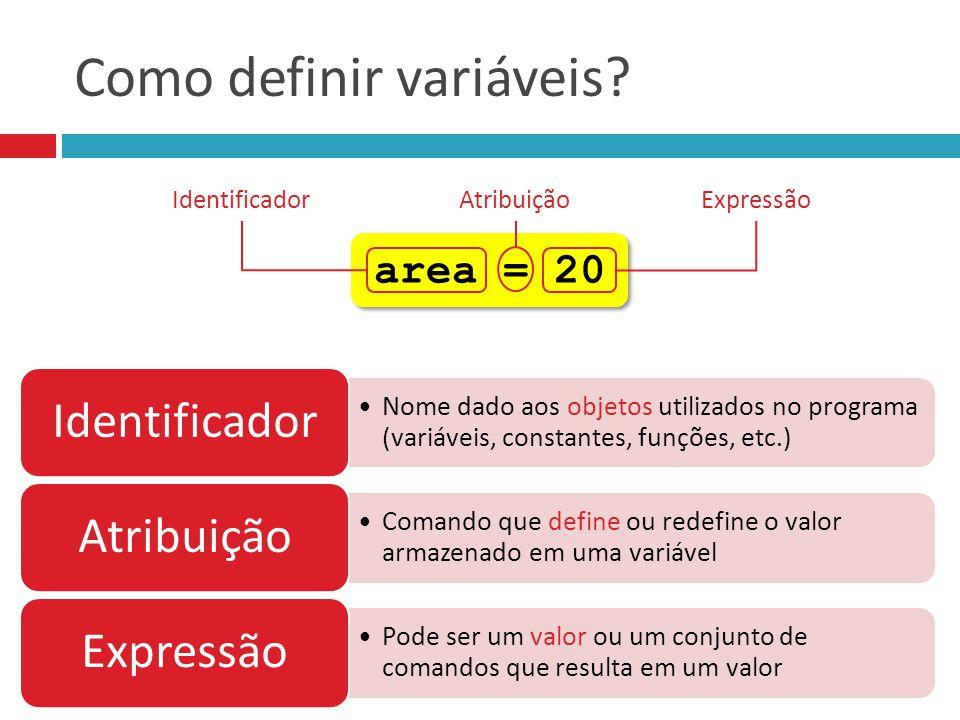 Nome dado aos objetos utilizados no programa (variáveis, constantes, funções, etc.) Identificador Comando que define ou redefine o valor armazenado em