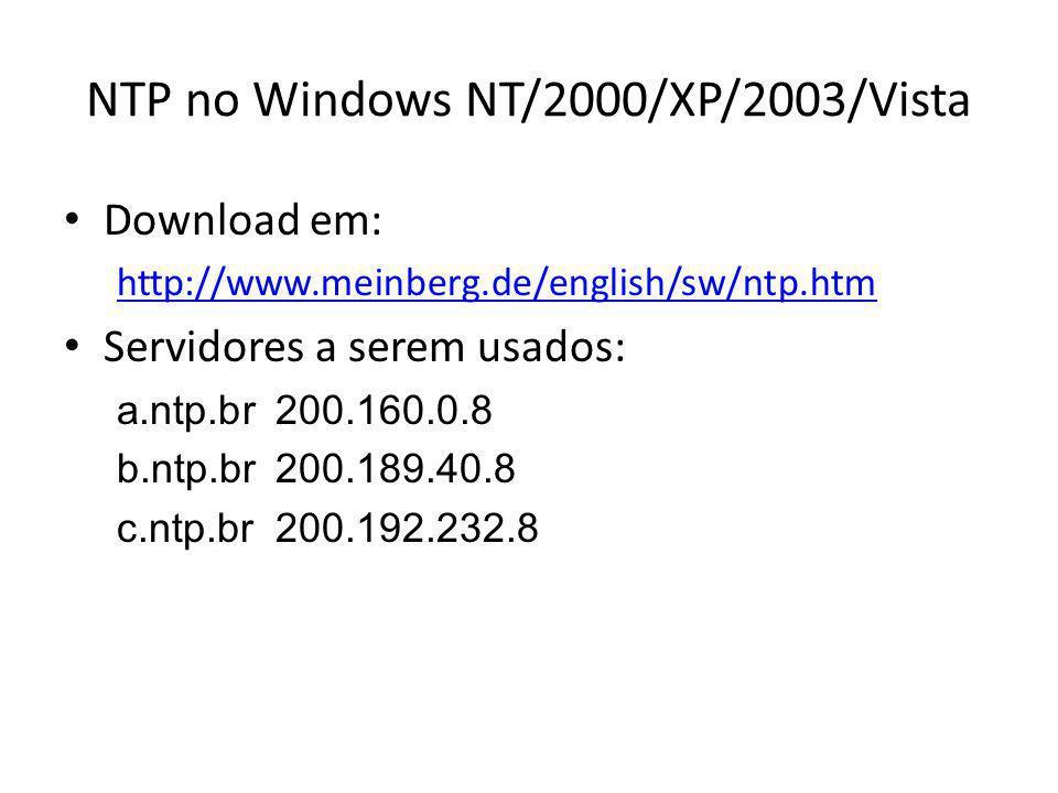Configurações do ntp.conf # driftfile driftfile C:\Program Files\NTP\etc\ntp.drift # habilitar as estatisticas enable stats statsdir C:\Program Files\NTP\etc\ statistics loopstats peerstats clockstats # servidores publicos do ntp.br server a.ntp.br iburst server b.ntp.br iburst server c.ntp.br iburst # restricoes de acesso restrict default kod notrap nomodify nopeer