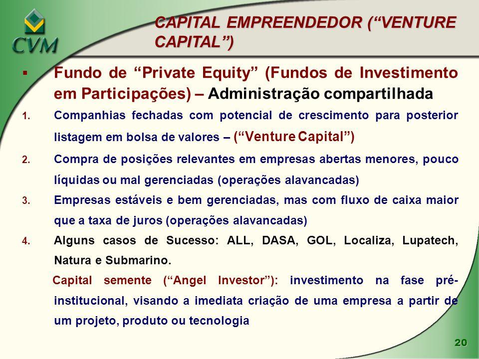 """20  Fundo de """"Private Equity"""" (Fundos de Investimento em Participações) – Administração compartilhada 1. Companhias fechadas com potencial de crescim"""