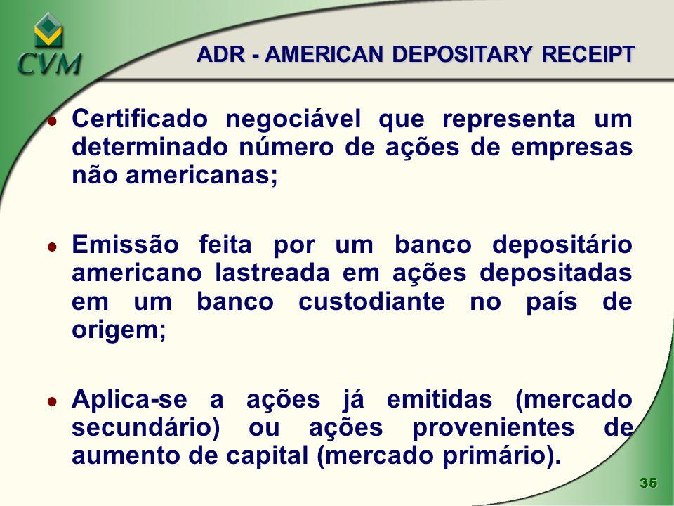 35 l Certificado negociável que representa um determinado número de ações de empresas não americanas; l Emissão feita por um banco depositário america