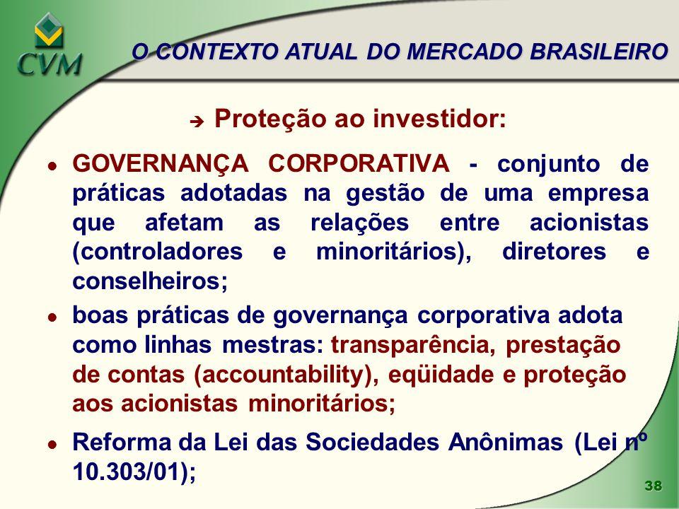 38 è Proteção ao investidor: l GOVERNANÇA CORPORATIVA - conjunto de práticas adotadas na gestão de uma empresa que afetam as relações entre acionistas