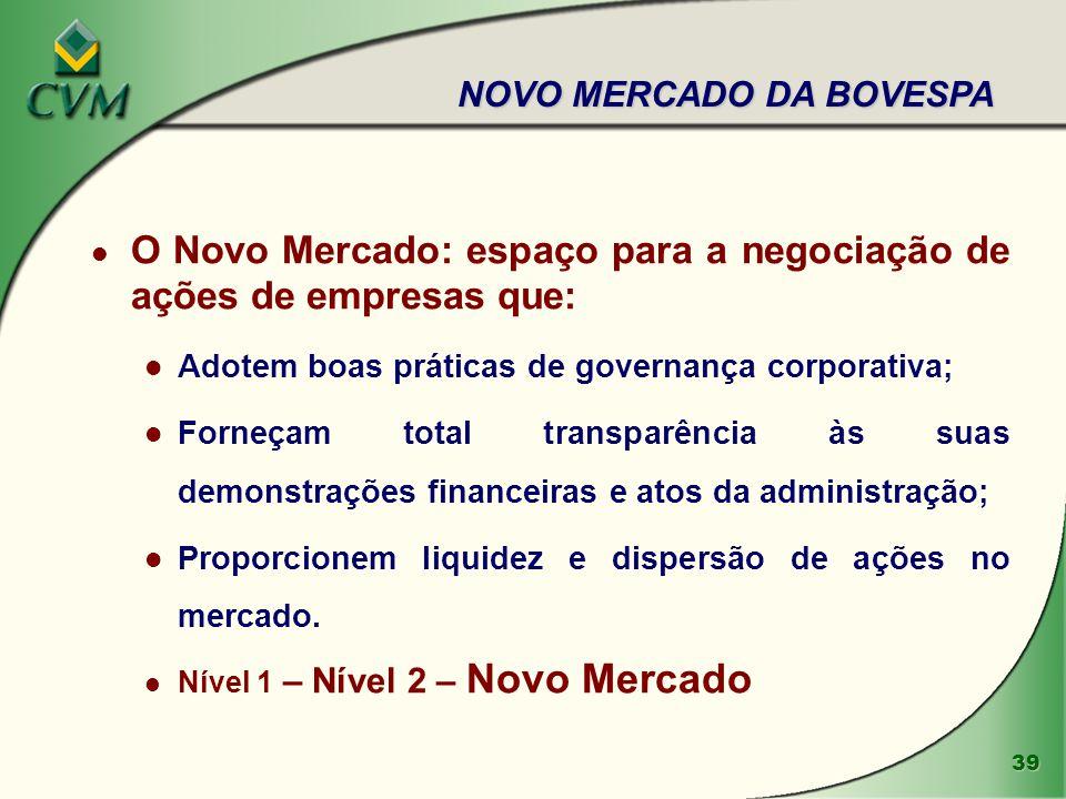 39 l O Novo Mercado: espaço para a negociação de ações de empresas que: l Adotem boas práticas de governança corporativa; l Forneçam total transparênc