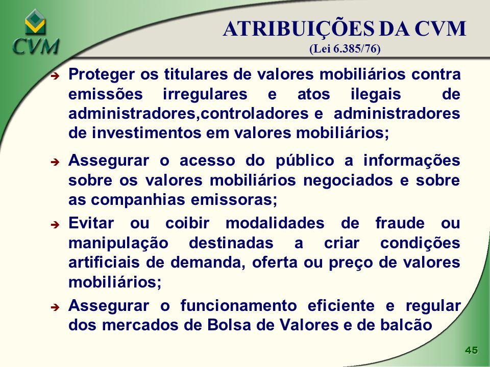 45 è Proteger os titulares de valores mobiliários contra emissões irregulares e atos ilegais de administradores,controladores e administradores de inv