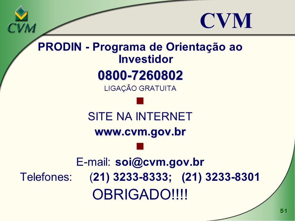 51 PRODIN - Programa de Orientação ao Investidor0800-7260802 LIGAÇÃO GRATUITA SITE NA INTERNETwww.cvm.gov.br E-mail: soi@cvm.gov.br Telefones: (21) 3233-8333; (21) 3233-8301 OBRIGADO!!!.