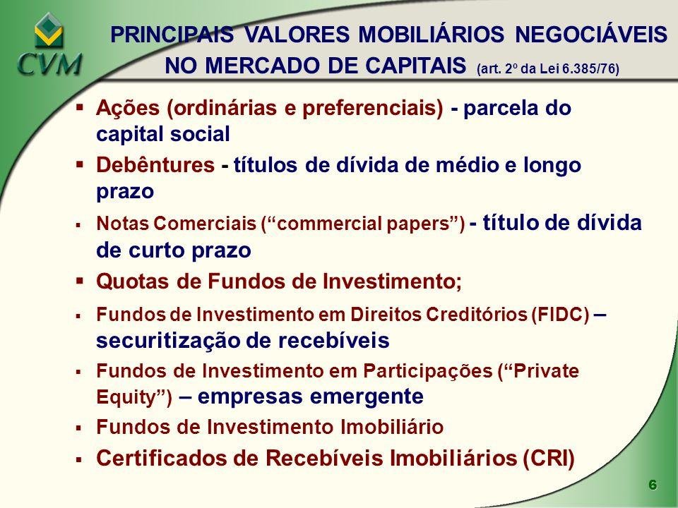 """6  Ações (ordinárias e preferenciais) - parcela do capital social  Debêntures - títulos de dívida de médio e longo prazo  Notas Comerciais (""""commer"""
