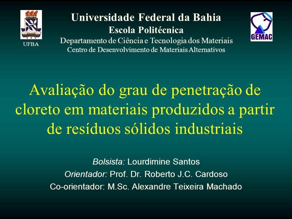 Avaliação do grau de penetração de cloreto em materiais produzidos a partir de resíduos sólidos industriais Bolsista: Lourdimine Santos Orientador: Prof.