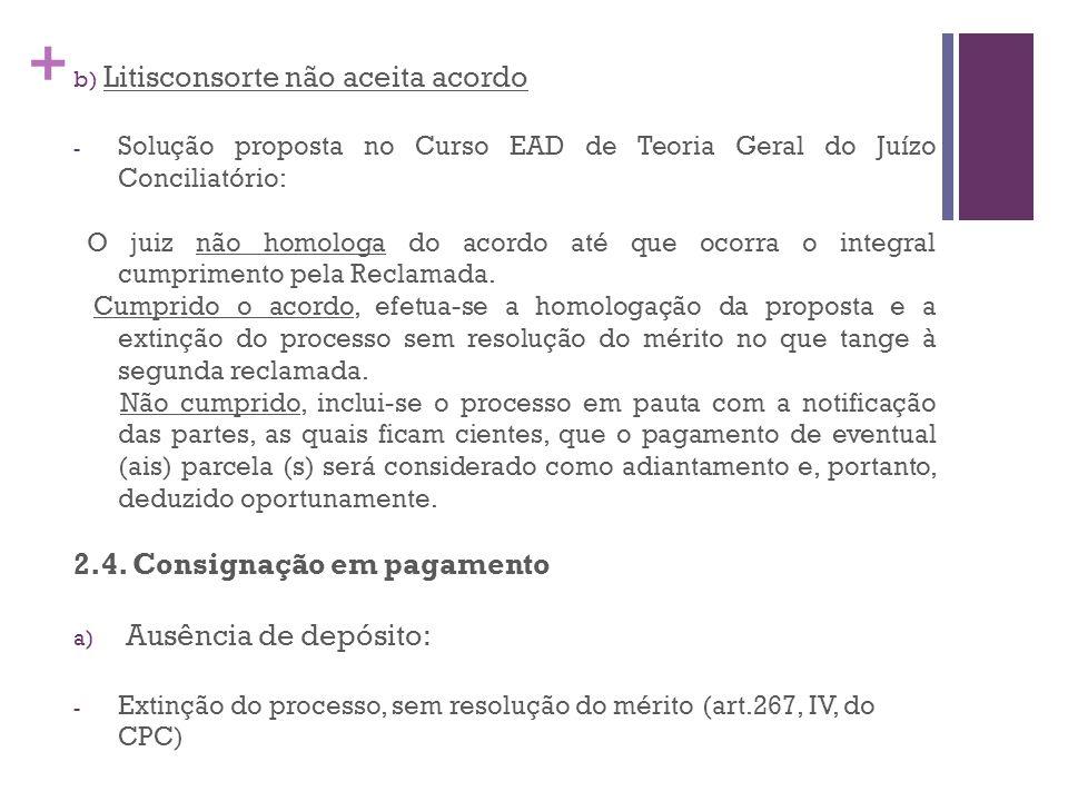 + b) Litisconsorte não aceita acordo - Solução proposta no Curso EAD de Teoria Geral do Juízo Conciliatório: O juiz não homologa do acordo até que ocorra o integral cumprimento pela Reclamada.