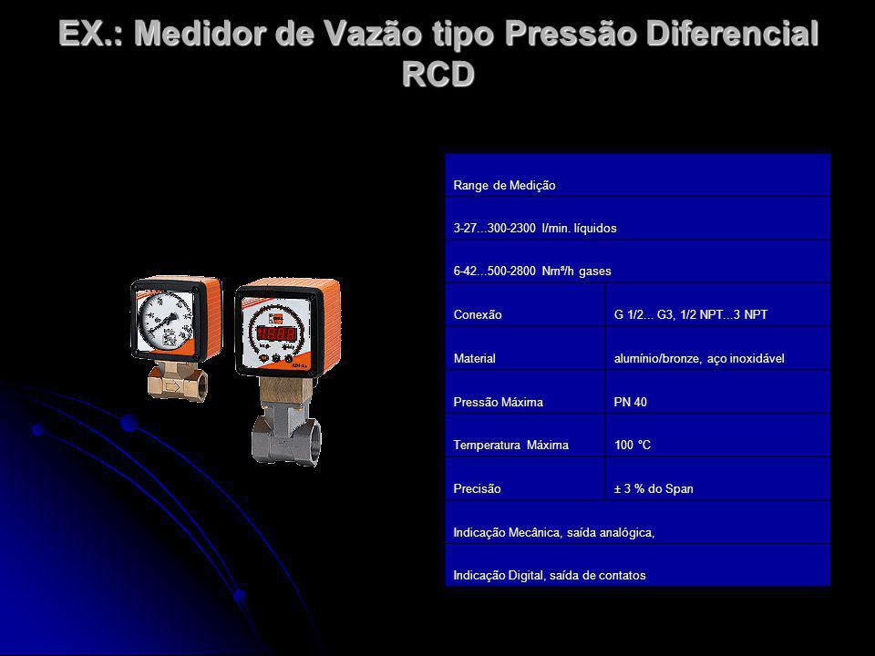 EX.: Medidor de Vazão tipo Pressão Diferencial RCD Range de Medição 3-27...300-2300 l/min. líquidos 6-42...500-2800 Nm³/h gases ConexãoG 1/2... G3, 1/