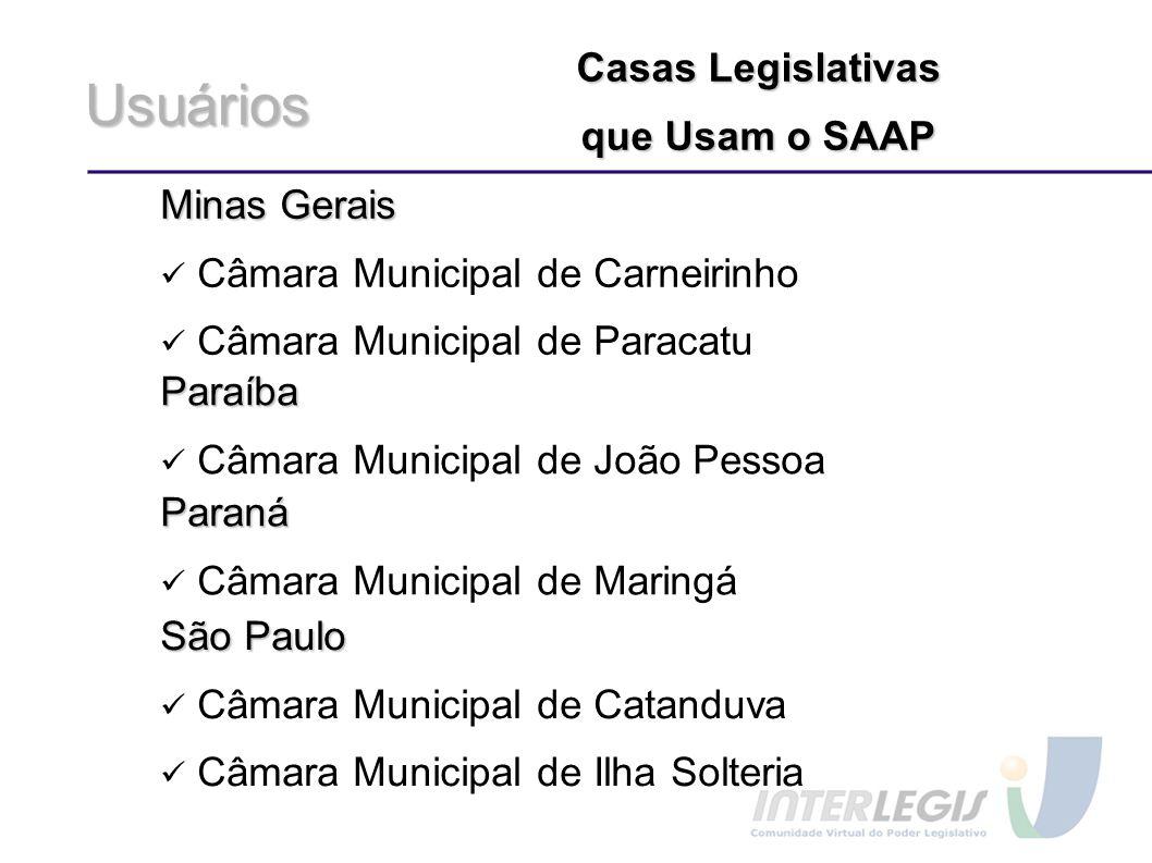 Usuários Minas Gerais Câmara Municipal de Carneirinho Câmara Municipal de Paracatu Casas Legislativas que Usam o SAAP Paraíba Câmara Municipal de João
