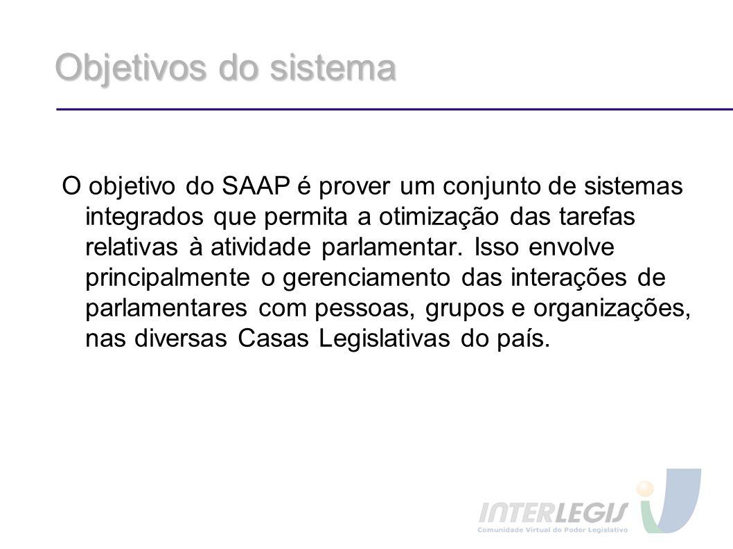Objetivos do sistema O objetivo do SAAP é prover um conjunto de sistemas integrados que permita a otimização das tarefas relativas à atividade parlame