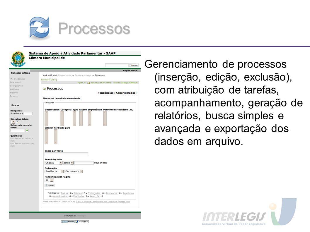 Processos Gerenciamento de processos (inserção, edição, exclusão), com atribuição de tarefas, acompanhamento, geração de relatórios, busca simples e a