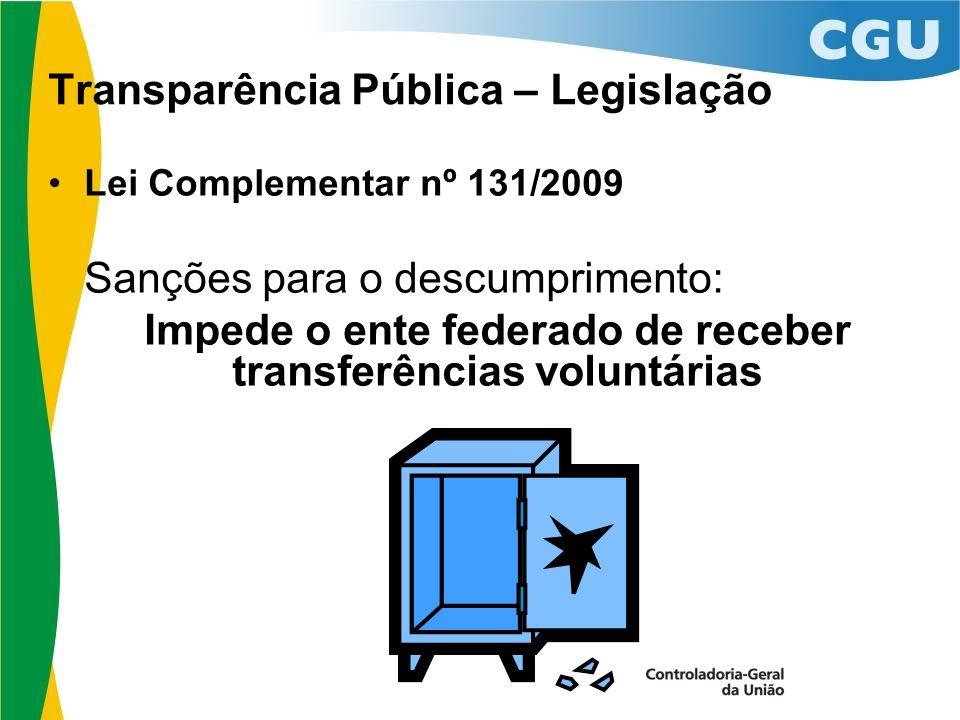 Transparência Pública – Legislação Lei Complementar nº 131/2009 Sanções para o descumprimento: Impede o ente federado de receber transferências voluntárias