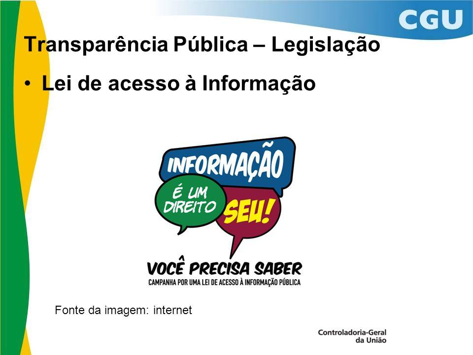 Transparência Pública – Legislação Lei de acesso à Informação Fonte da imagem: internet