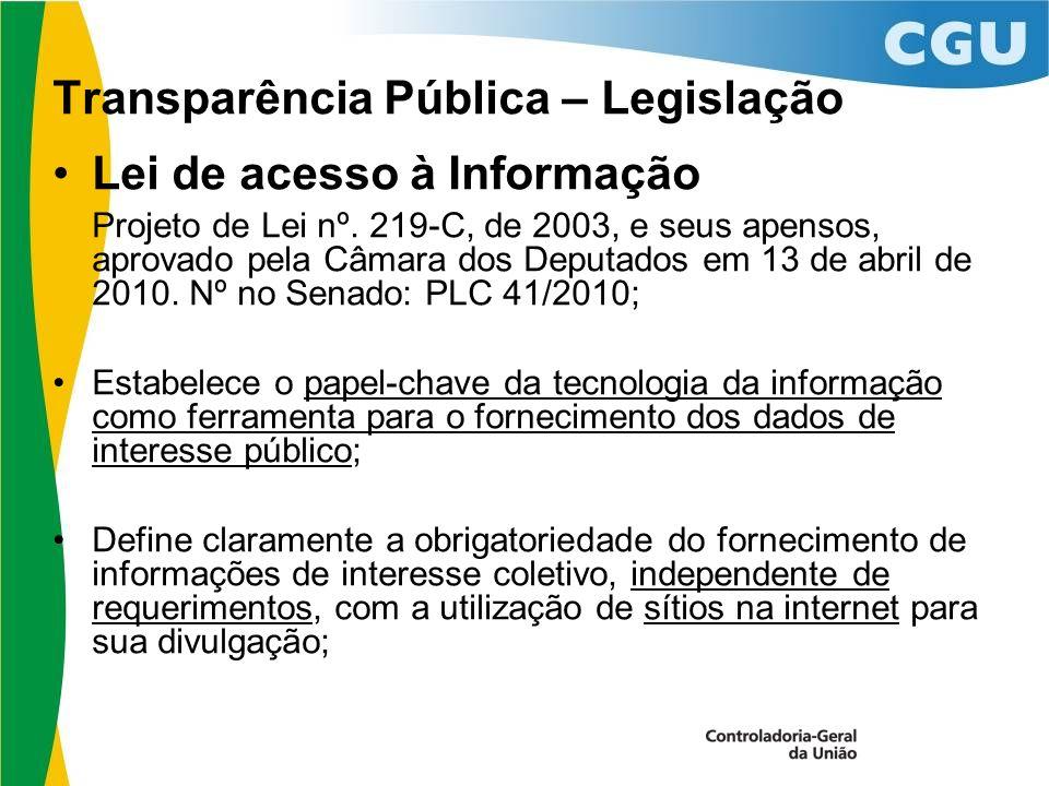 Transparência Pública – Legislação Lei de acesso à Informação Projeto de Lei nº.