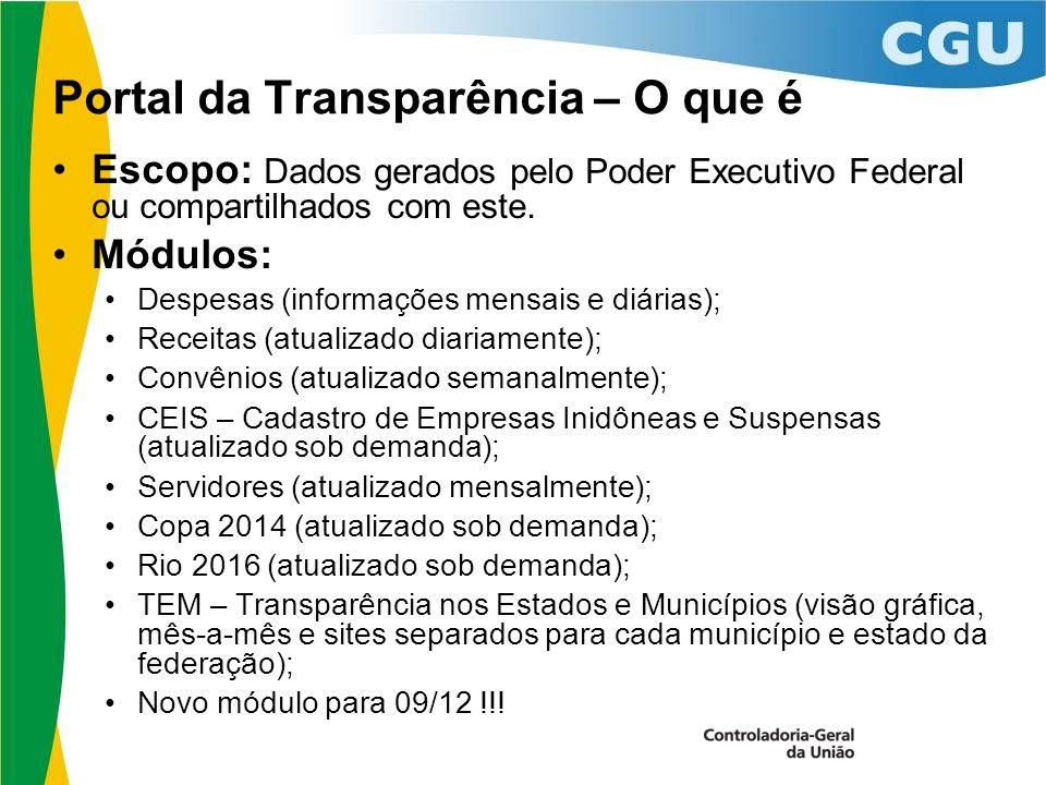 Portal da Transparência – O que é Escopo: Dados gerados pelo Poder Executivo Federal ou compartilhados com este.