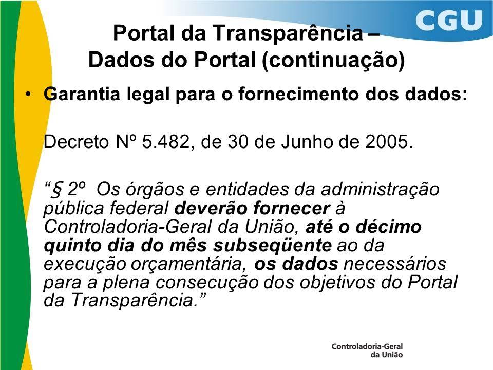 Portal da Transparência – Dados do Portal (continuação) Garantia legal para o fornecimento dos dados: Decreto Nº 5.482, de 30 de Junho de 2005.