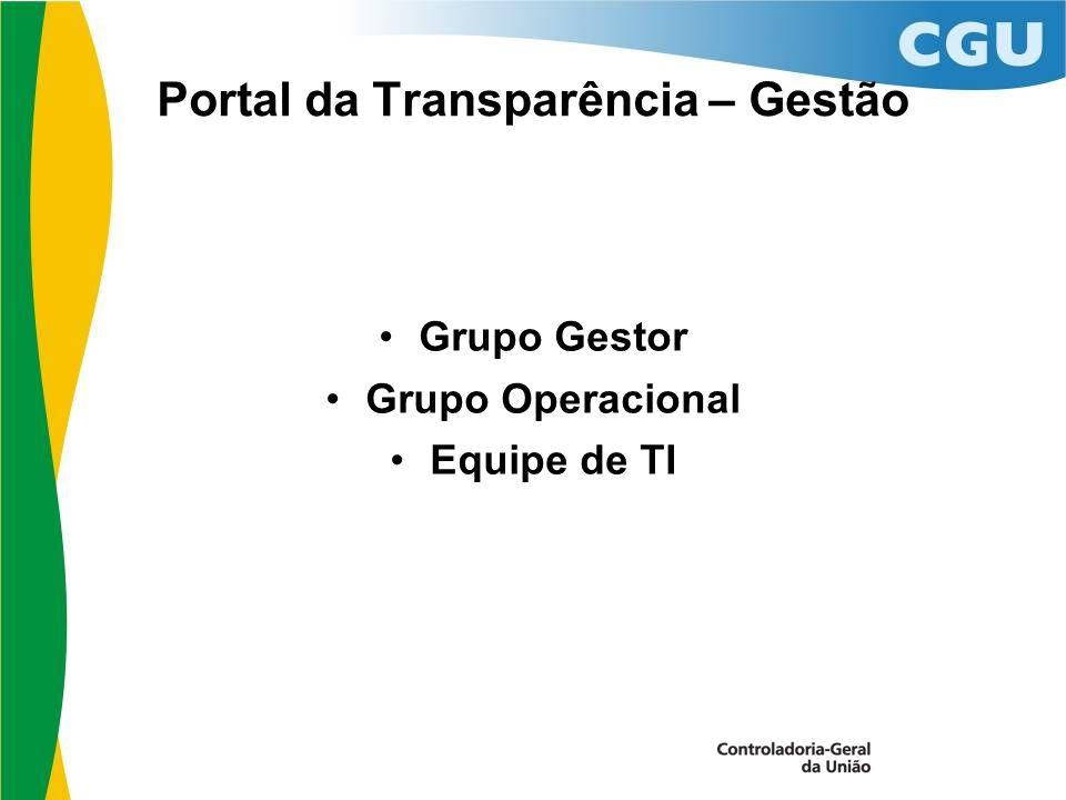 Portal da Transparência – Gestão Grupo Gestor Grupo Operacional Equipe de TI