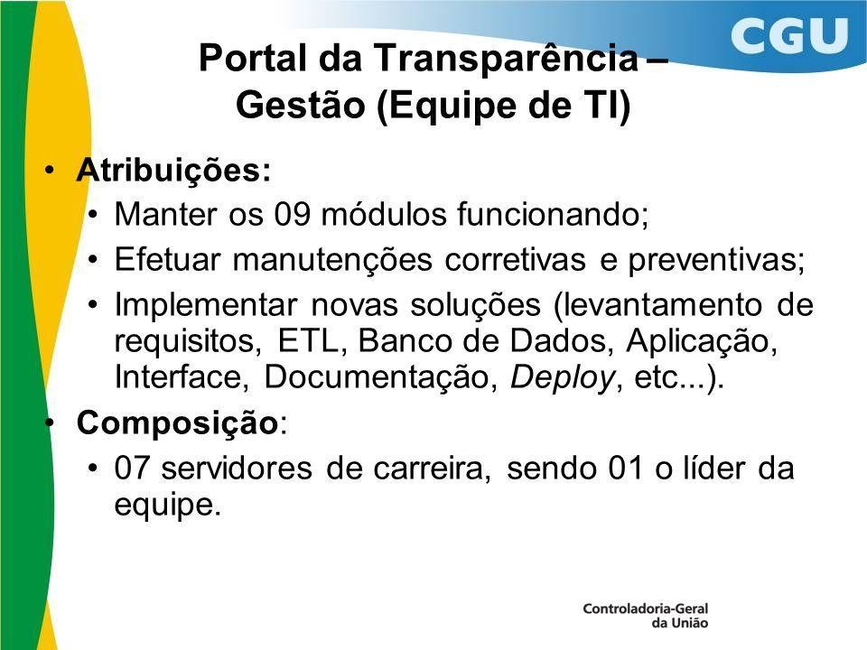 Portal da Transparência – Gestão (Equipe de TI) Atribuições: Manter os 09 módulos funcionando; Efetuar manutenções corretivas e preventivas; Implementar novas soluções (levantamento de requisitos, ETL, Banco de Dados, Aplicação, Interface, Documentação, Deploy, etc...).