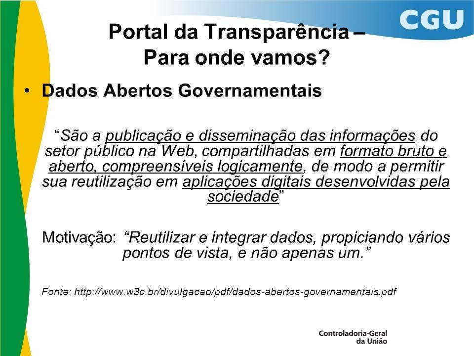 Portal da Transparência – Para onde vamos.