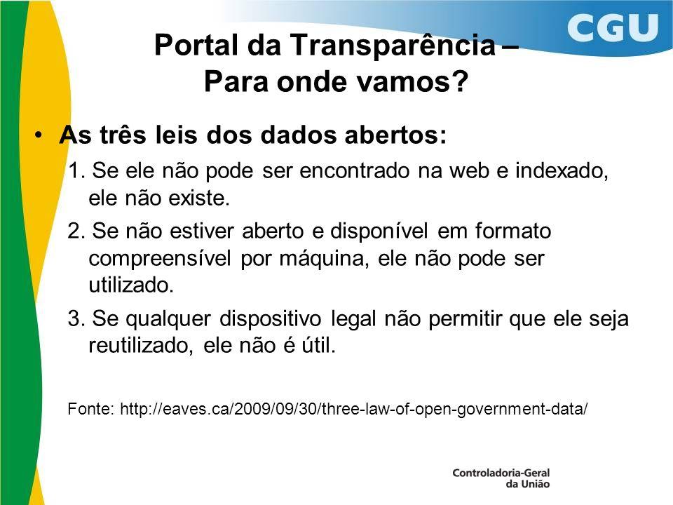 Portal da Transparência – Para onde vamos. As três leis dos dados abertos: 1.