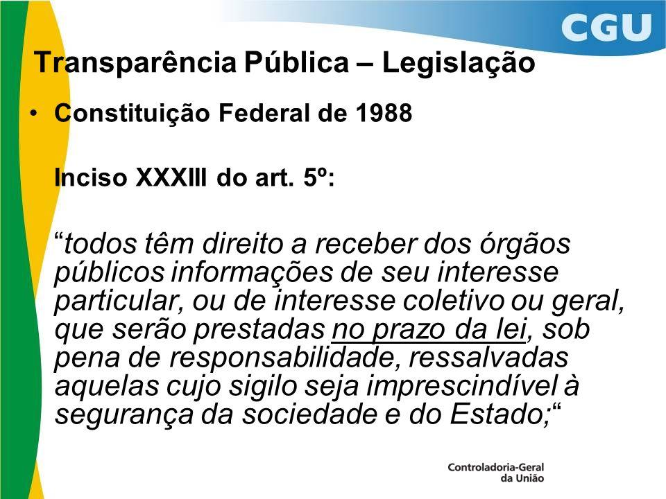 Transparência Pública – Legislação Constituição Federal de 1988 Inciso XXXIII do art.