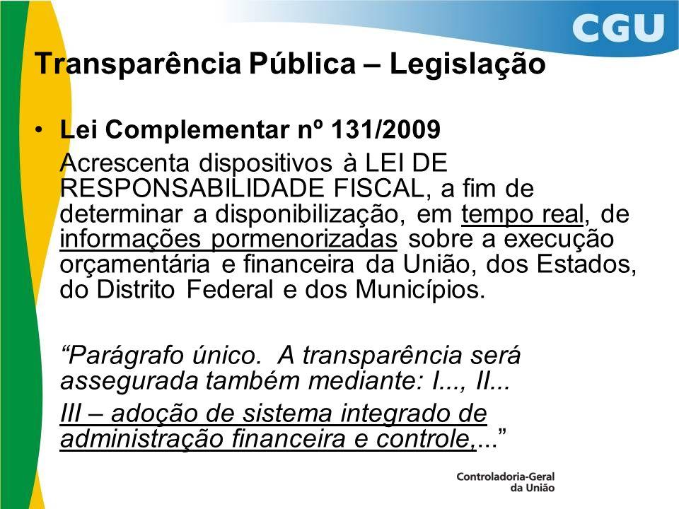 Transparência Pública – Legislação Lei Complementar nº 131/2009 Acrescenta dispositivos à LEI DE RESPONSABILIDADE FISCAL, a fim de determinar a disponibilização, em tempo real, de informações pormenorizadas sobre a execução orçamentária e financeira da União, dos Estados, do Distrito Federal e dos Municípios.