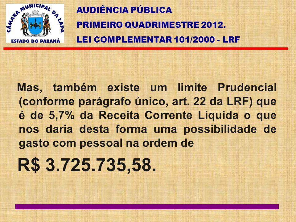 AUDIÊNCIA PÚBLICA PRIMEIRO QUADRIMESTRE 2012. LEI COMPLEMENTAR 101/2000 - LRF Mas, também existe um limite Prudencial (conforme parágrafo único, art.