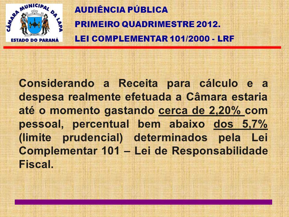 AUDIÊNCIA PÚBLICA PRIMEIRO QUADRIMESTRE 2012. LEI COMPLEMENTAR 101/2000 - LRF Considerando a Receita para cálculo e a despesa realmente efetuada a Câm