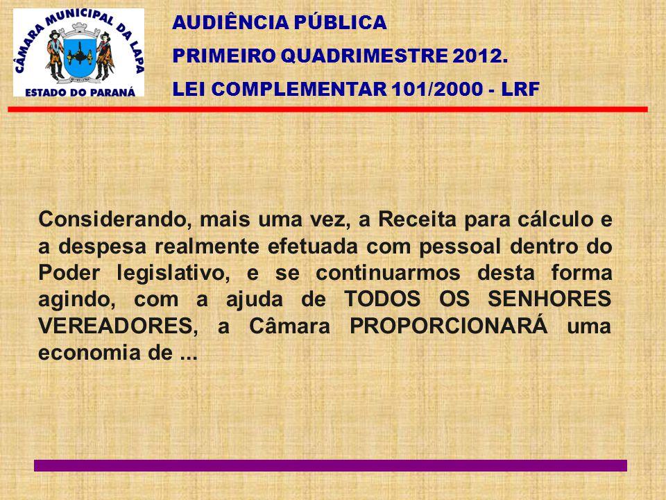 AUDIÊNCIA PÚBLICA PRIMEIRO QUADRIMESTRE 2012. LEI COMPLEMENTAR 101/2000 - LRF Considerando, mais uma vez, a Receita para cálculo e a despesa realmente