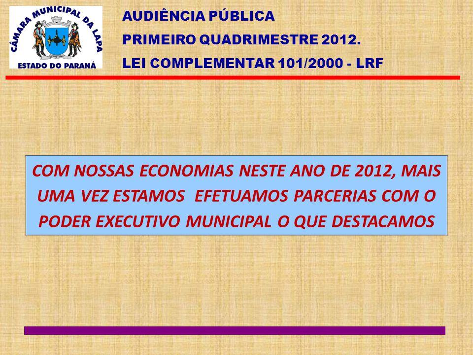 AUDIÊNCIA PÚBLICA PRIMEIRO QUADRIMESTRE 2012. LEI COMPLEMENTAR 101/2000 - LRF COM NOSSAS ECONOMIAS NESTE ANO DE 2012, MAIS UMA VEZ ESTAMOS EFETUAMOS P