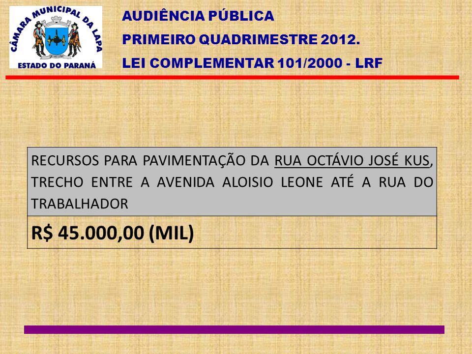AUDIÊNCIA PÚBLICA PRIMEIRO QUADRIMESTRE 2012. LEI COMPLEMENTAR 101/2000 - LRF RECURSOS PARA PAVIMENTAÇÃO DA RUA OCTÁVIO JOSÉ KUS, TRECHO ENTRE A AVENI