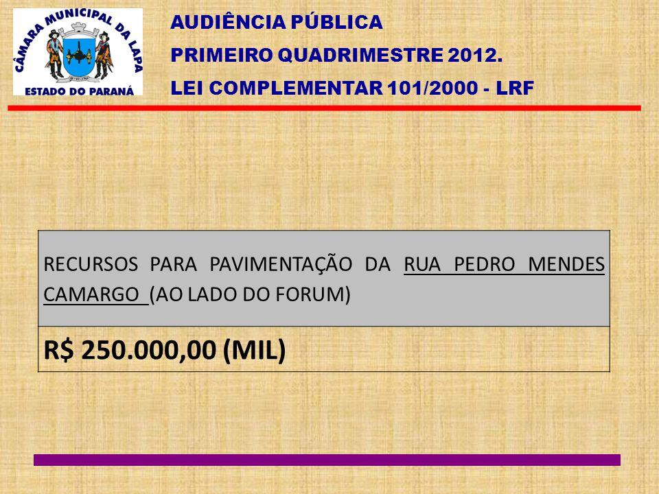 AUDIÊNCIA PÚBLICA PRIMEIRO QUADRIMESTRE 2012. LEI COMPLEMENTAR 101/2000 - LRF RECURSOS PARA PAVIMENTAÇÃO DA RUA PEDRO MENDES CAMARGO (AO LADO DO FORUM