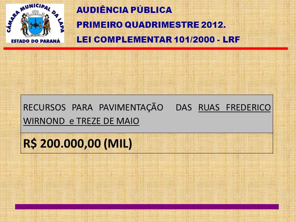 AUDIÊNCIA PÚBLICA PRIMEIRO QUADRIMESTRE 2012. LEI COMPLEMENTAR 101/2000 - LRF RECURSOS PARA PAVIMENTAÇÃO DAS RUAS FREDERICO WIRNOND e TREZE DE MAIO R$