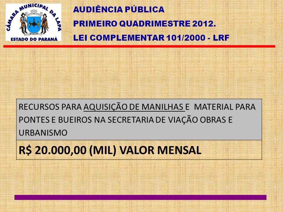 AUDIÊNCIA PÚBLICA PRIMEIRO QUADRIMESTRE 2012. LEI COMPLEMENTAR 101/2000 - LRF RECURSOS PARA AQUISIÇÃO DE MANILHAS E MATERIAL PARA PONTES E BUEIROS NA