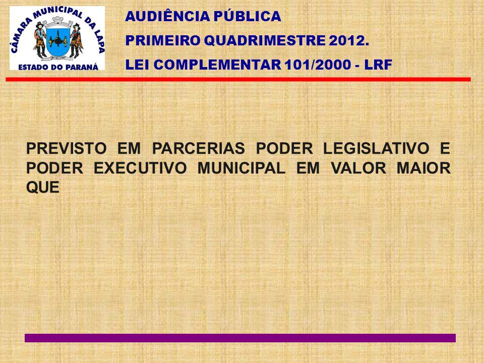 AUDIÊNCIA PÚBLICA PRIMEIRO QUADRIMESTRE 2012. LEI COMPLEMENTAR 101/2000 - LRF PREVISTO EM PARCERIAS PODER LEGISLATIVO E PODER EXECUTIVO MUNICIPAL EM V