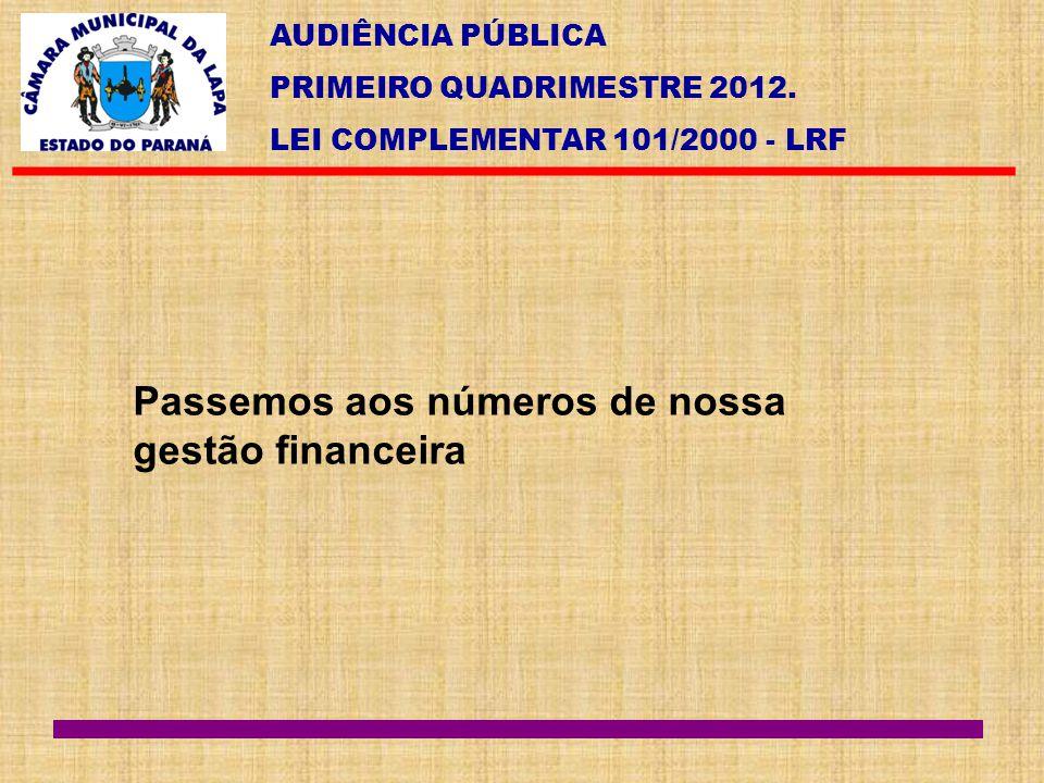 AUDIÊNCIA PÚBLICA PRIMEIRO QUADRIMESTRE 2012. LEI COMPLEMENTAR 101/2000 - LRF Passemos aos números de nossa gestão financeira