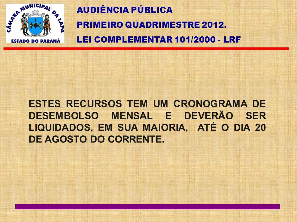 AUDIÊNCIA PÚBLICA PRIMEIRO QUADRIMESTRE 2012. LEI COMPLEMENTAR 101/2000 - LRF ESTES RECURSOS TEM UM CRONOGRAMA DE DESEMBOLSO MENSAL E DEVERÃO SER LIQU