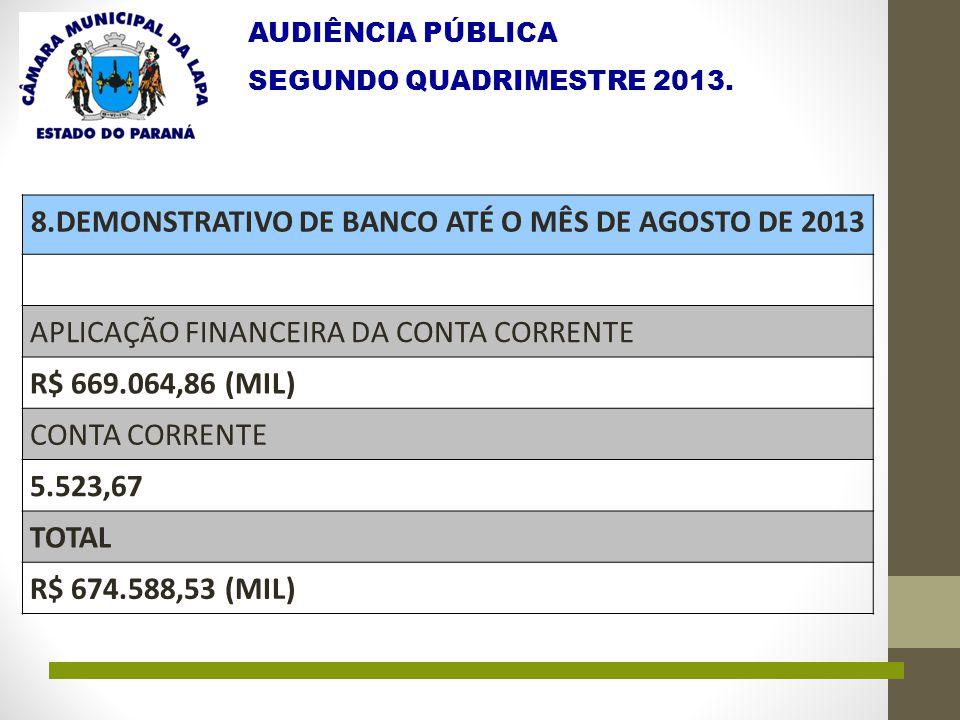 AUDIÊNCIA PÚBLICA SEGUNDO QUADRIMESTRE 2013. 8.DEMONSTRATIVO DE BANCO ATÉ O MÊS DE AGOSTO DE 2013 APLICAÇÃO FINANCEIRA DA CONTA CORRENTE R$ 669.064,86