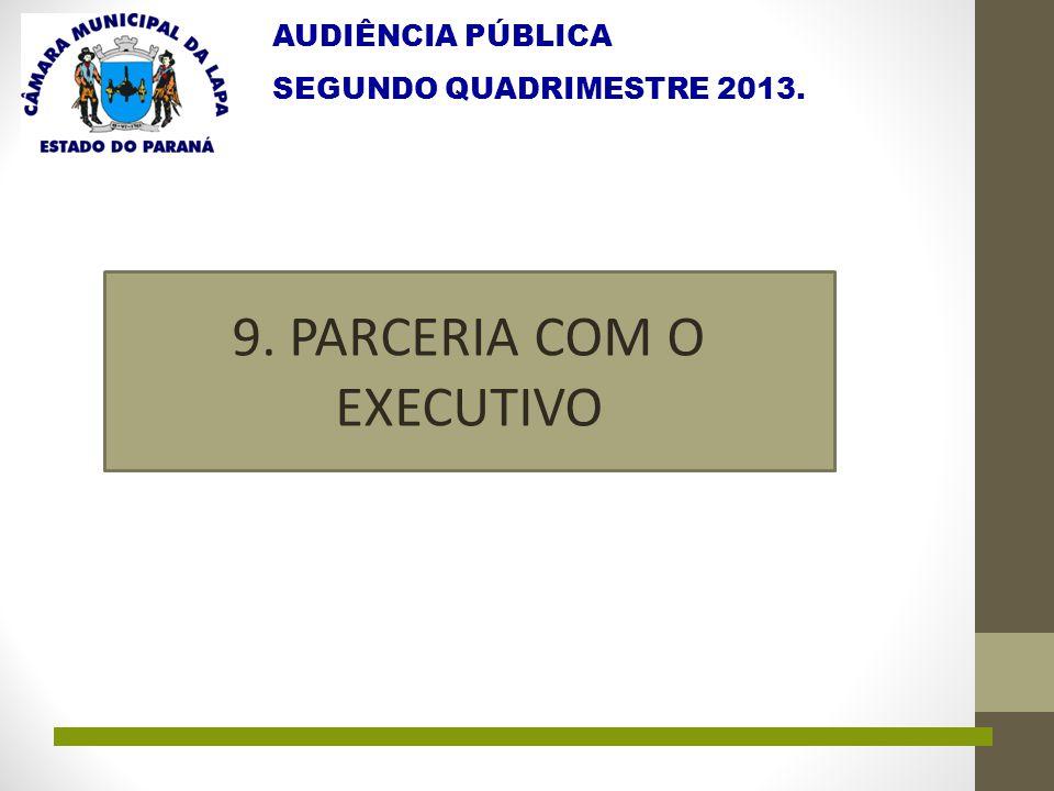 AUDIÊNCIA PÚBLICA SEGUNDO QUADRIMESTRE 2013. 9. PARCERIA COM O EXECUTIVO