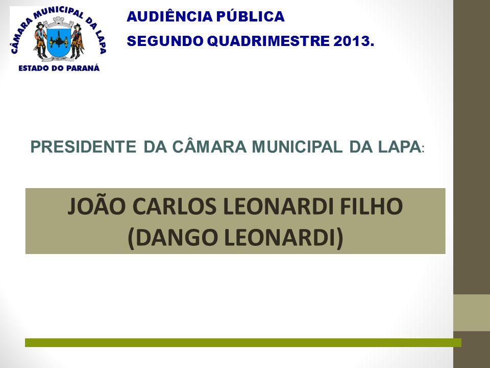 AUDIÊNCIA PÚBLICA SEGUNDO QUADRIMESTRE 2013. PRESIDENTE DA CÂMARA MUNICIPAL DA LAPA : JOÃO CARLOS LEONARDI FILHO (DANGO LEONARDI)