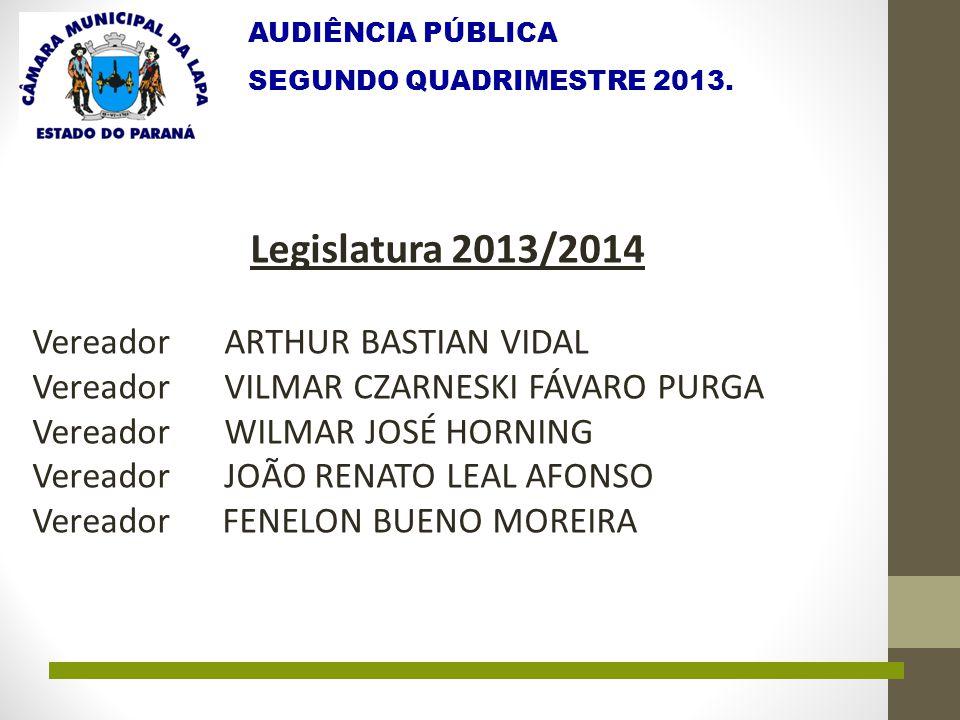 AUDIÊNCIA PÚBLICA SEGUNDO QUADRIMESTRE 2013. Legislatura 2013/2014 Vereador ARTHUR BASTIAN VIDAL Vereador VILMAR CZARNESKI FÁVARO PURGA Vereador WILMA