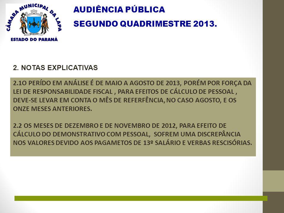 AUDIÊNCIA PÚBLICA SEGUNDO QUADRIMESTRE 2013. 2. NOTAS EXPLICATIVAS 2.1O PERÍDO EM ANÁLISE É DE MAIO A AGOSTO DE 2013, PORÉM POR FORÇA DA LEI DE RESPON