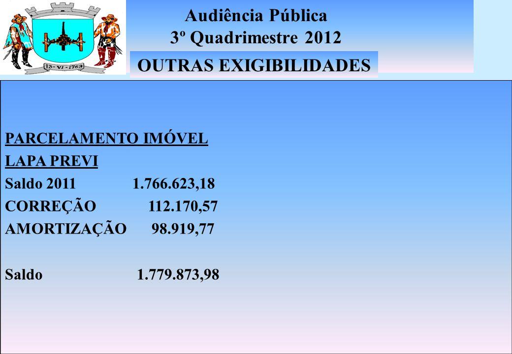 Audiência Pública 3º Quadrimestre 2012 PRECATÓRIOS TRABALHISTAS INSCRIÇÃO EM 2012 R$ 1.180.051,19 PRECATÓRIOS CAUSAS CIVEIS INSCRIÇÃO EM 2012 R$ 637.135,16 DÍVIDA FUNDADA