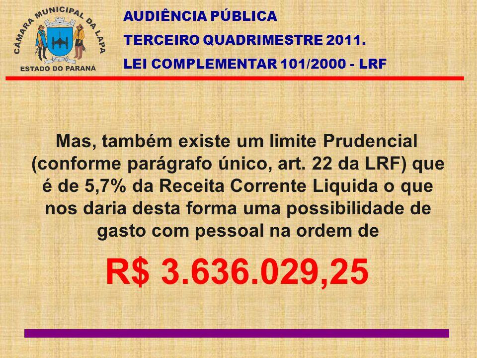 AUDIÊNCIA PÚBLICA TERCEIRO QUADRIMESTRE 2011. LEI COMPLEMENTAR 101/2000 - LRF Mas, também existe um limite Prudencial (conforme parágrafo único, art.
