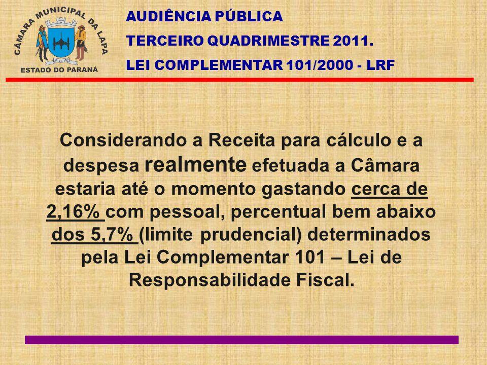 AUDIÊNCIA PÚBLICA TERCEIRO QUADRIMESTRE 2011. LEI COMPLEMENTAR 101/2000 - LRF Considerando a Receita para cálculo e a despesa realmente efetuada a Câm