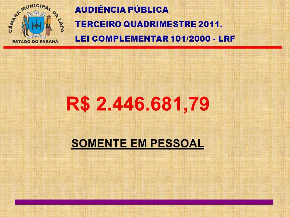 AUDIÊNCIA PÚBLICA TERCEIRO QUADRIMESTRE 2011. LEI COMPLEMENTAR 101/2000 - LRF R$ 2.446.681,79 SOMENTE EM PESSOAL