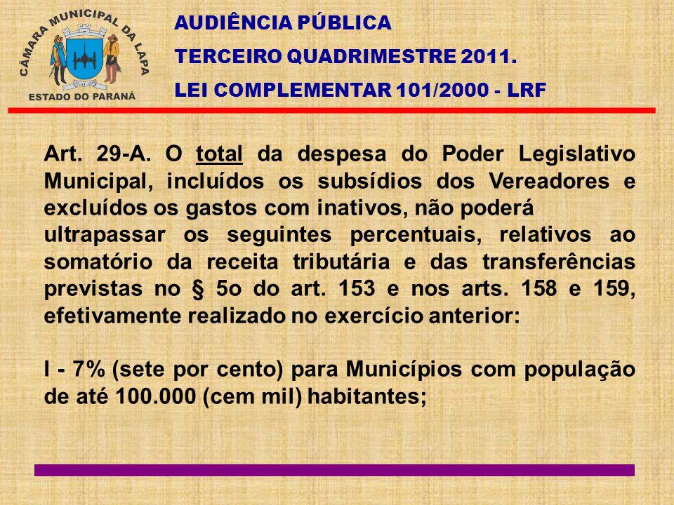 AUDIÊNCIA PÚBLICA TERCEIRO QUADRIMESTRE 2011. LEI COMPLEMENTAR 101/2000 - LRF Art. 29-A. O total da despesa do Poder Legislativo Municipal, incluídos