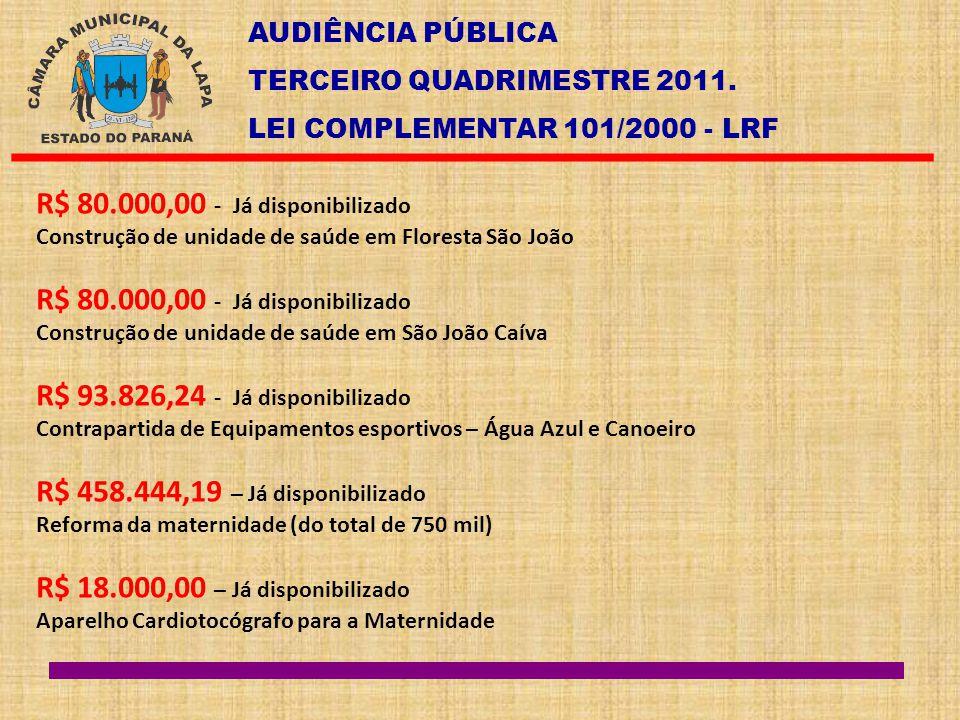 AUDIÊNCIA PÚBLICA TERCEIRO QUADRIMESTRE 2011. LEI COMPLEMENTAR 101/2000 - LRF R$ 80.000,00 - Já disponibilizado Construção de unidade de saúde em Flor